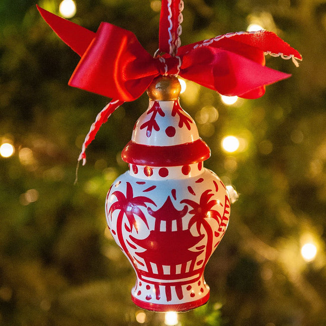 Pagoda Red Set of 3 Ginger Jar Ornaments