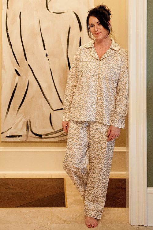 Cheetah Cotton Poplin Pajama Set