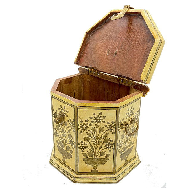 Antique Tall Octagon Beige Floral Box