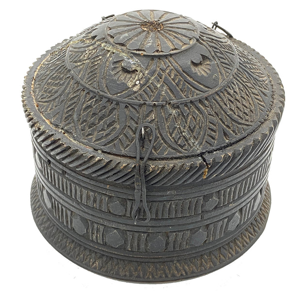 Antique Round Hand Carved Box