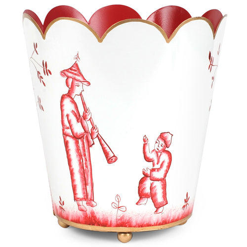 Chinoiserie Red Scallop Top Wastebasket