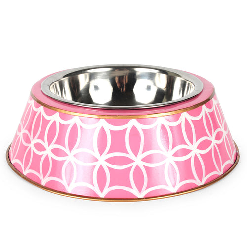 Rings Pink Large Dog Bowl