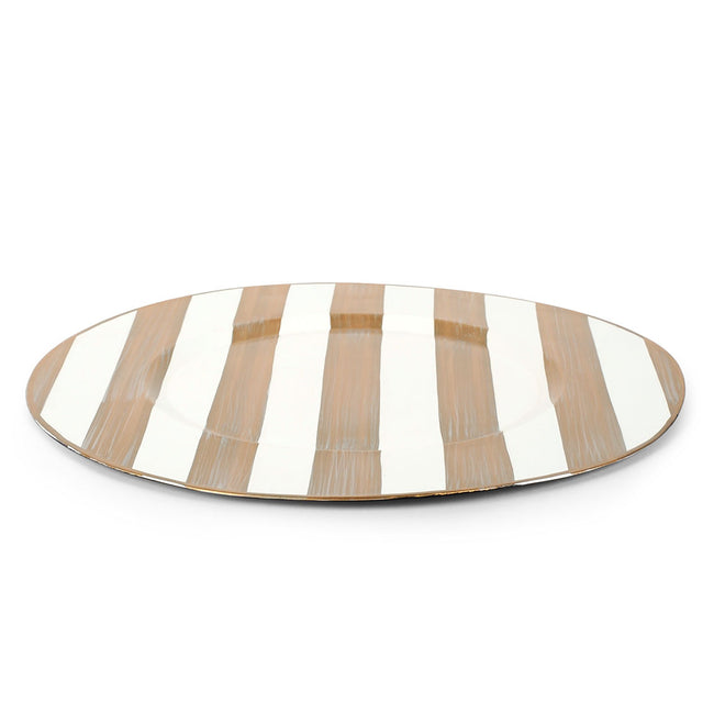 "Brushed Stripe Cream 14"" Charger Plate 4-Pack"
