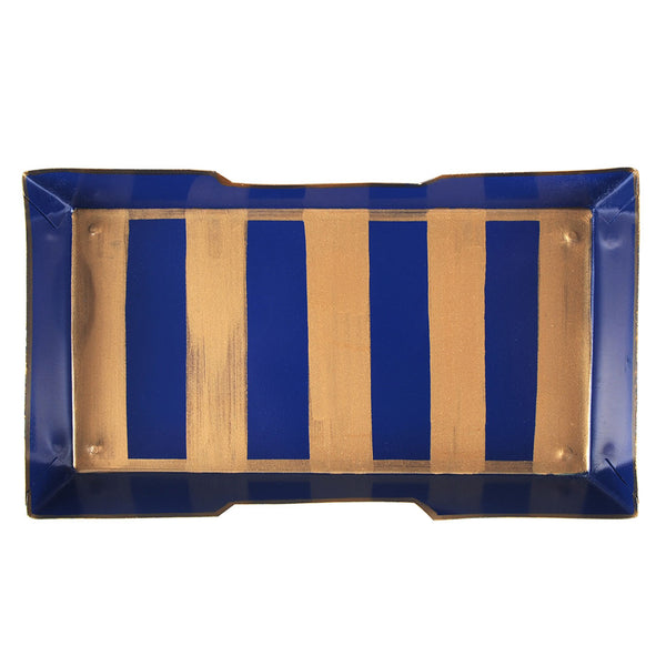 Brushed Stripe Navy Guest Towel Tray