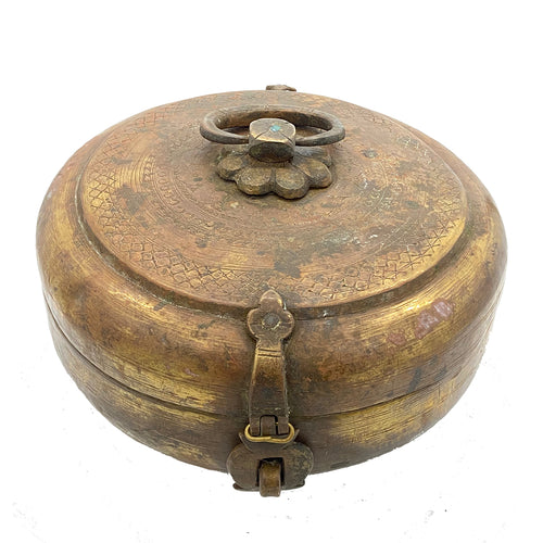 Antique Round Chapati Box with Floral Top