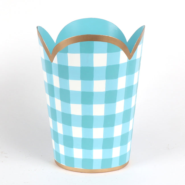 "Sample Gingham Tulip Wastebasket ""As-Is"""