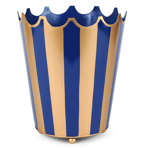 Brushed Stripe Navy and Gold Crown Wastebasket