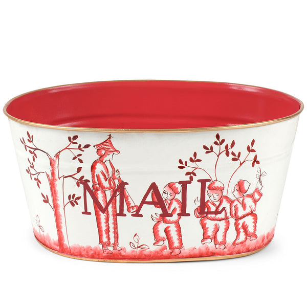 "Chinoiserie Red ""Mail"" Tub"