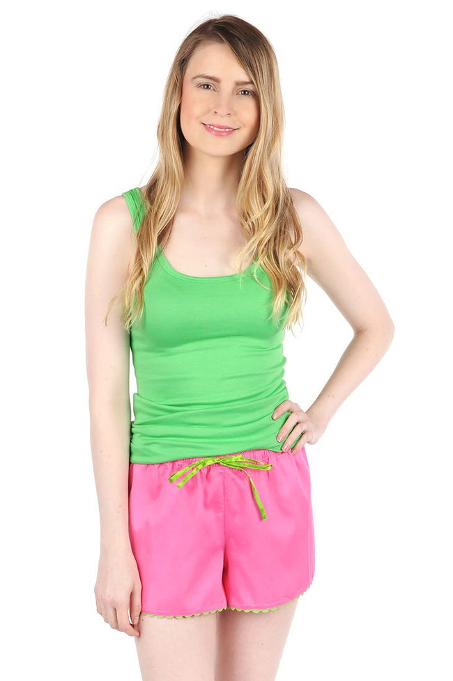 Color Block Pink/Green Sateen Women's Boxers