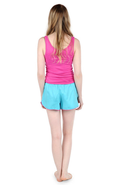 Color Block Turquoise/Pink Sateen Women's Boxers