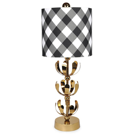 Buffalo Plaid Pink Brass J'adore Lamp