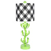 Buffalo Plaid Black J'adore Green Lamp