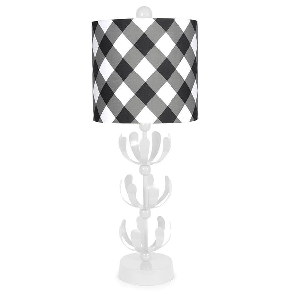 Black Buffalo Plaid White J'adore Lamp