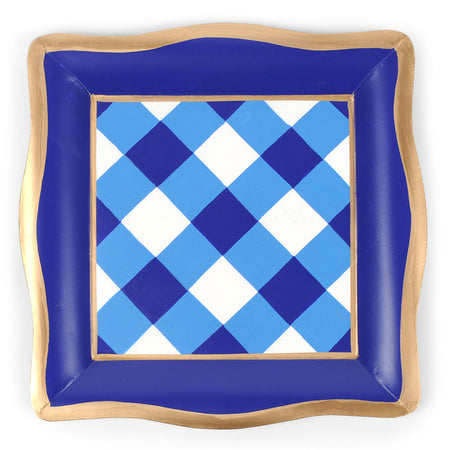 Horizontal Blue Stripe Cocktail Napkin Tray