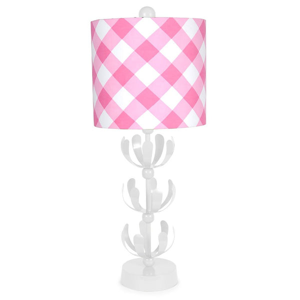 Pink Buffalo Plaid White J'adore Lamp