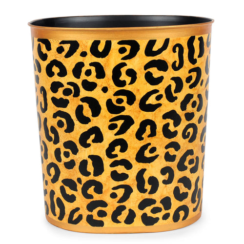 Leopard Large Oval Wastebasket