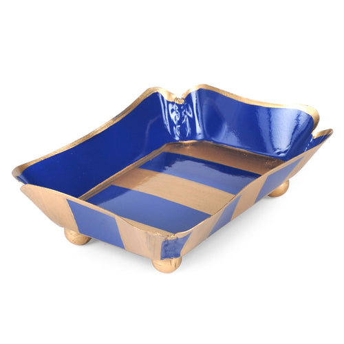 Brushed Stripe Navy Trinket Tray