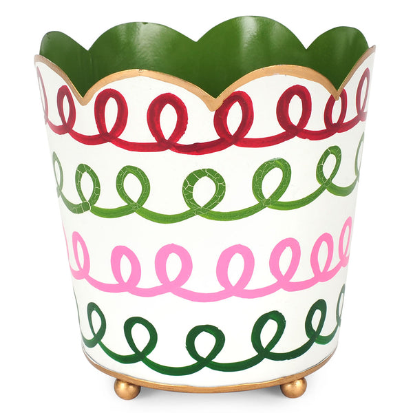 "Holiday Squiggle Multi Color 6"" Decorative Cachepot"