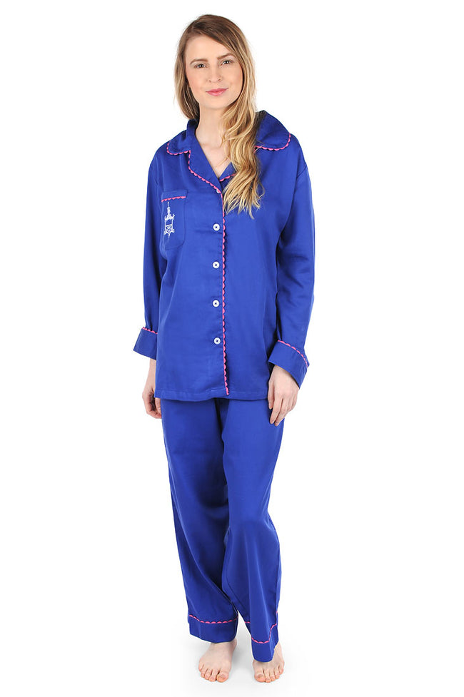 Pagoda Navy Sateen Full Pajama Set with Embroidery