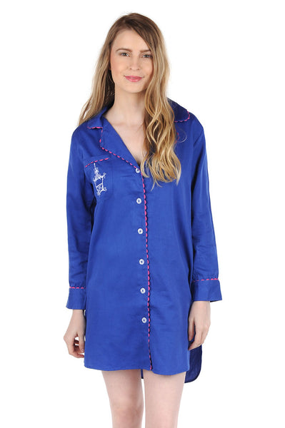 Pagoda Navy Sateen Sleep Shirt