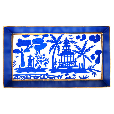 Chinoiserie Blue Umbrella Stand