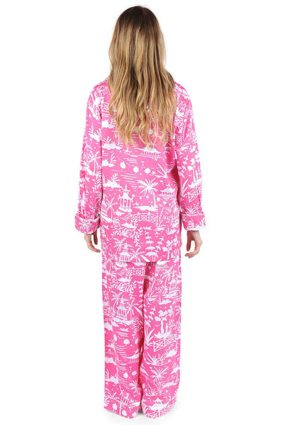 Shanghai Pink Sateen Full Pajama Set