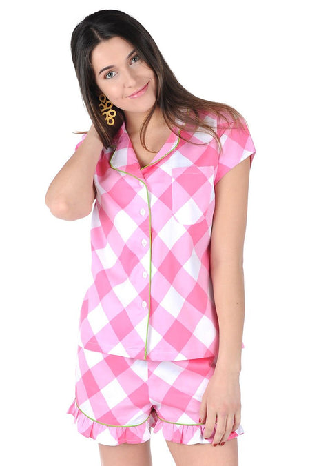 Buffalo Pink Sateen Full Pajama Set