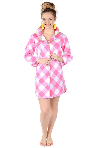 Buffalo Pink Sateen Sleep Shirt