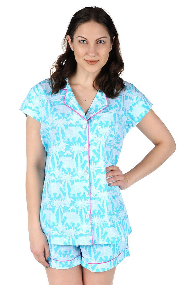 Elephant Parade Cotton Poplin Summer Pajama Set