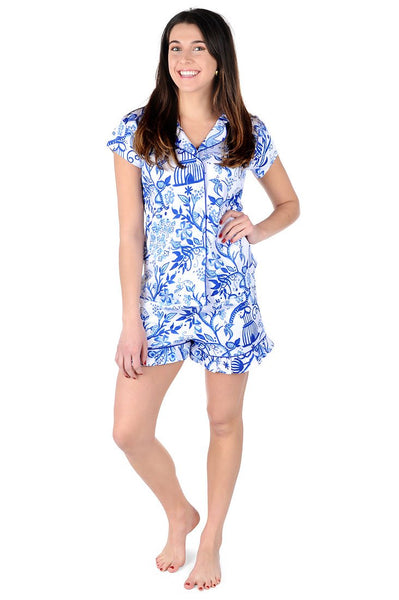 Birds of a Feather Sateen Ruffled Summer PJ Set