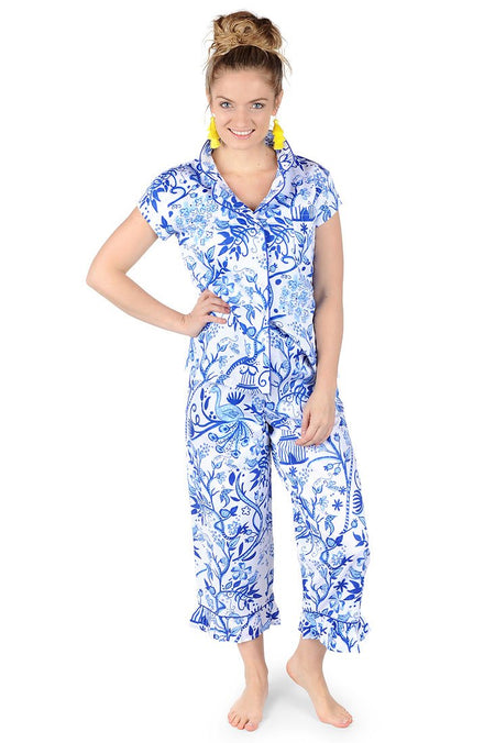 Ikat Green Sateen Ruffled Summer PJ Set