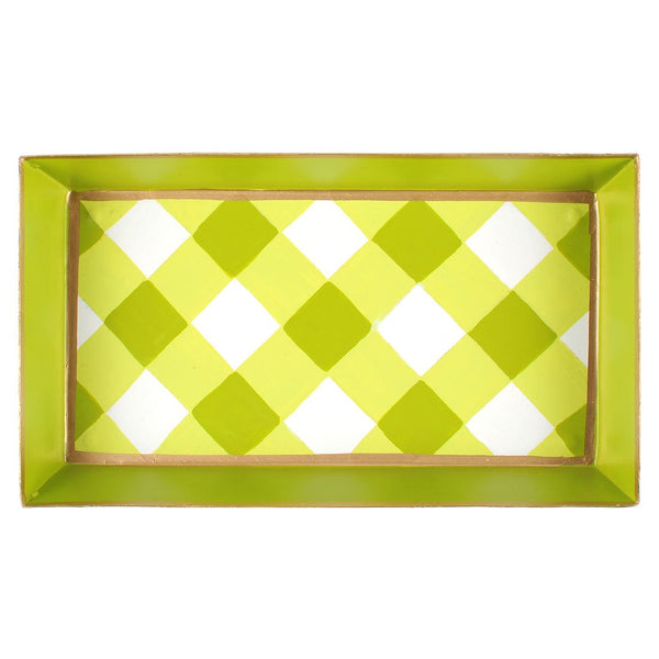 Gingham Green Guest Towel Tray