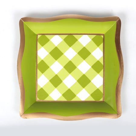 "Sample Gingham Cocktail Napkin Tray ""As-Is"""