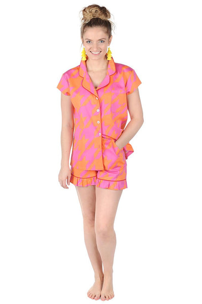 Houndstooth Sateen Ruffled Summer PJ Set