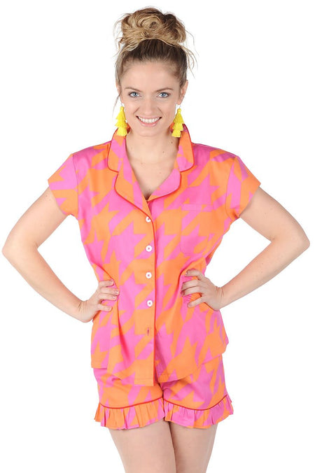 Fruit Floral Sateen Ruffled Summer PJ Set