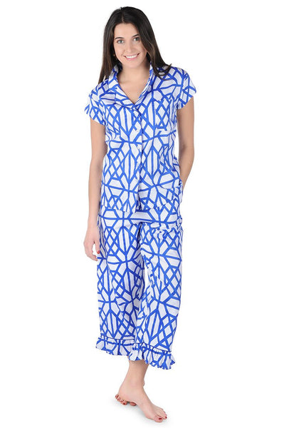Don't Fret Blue Sateen Capri Pajama Set