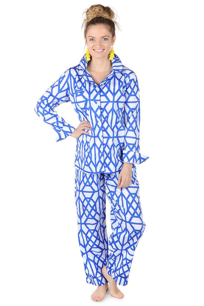 Don't Fret Blue Sateen Full Pajama Set