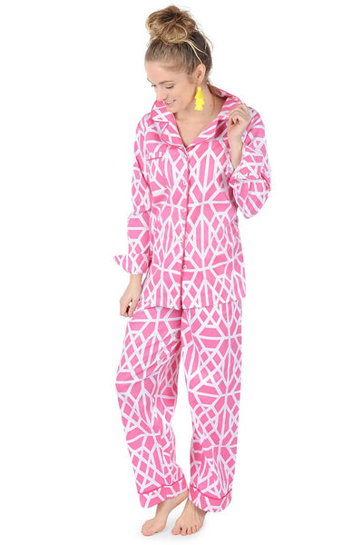 Don't Fret Pink Sateen Full Pajama Set