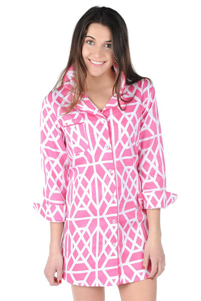 Don't Fret Pink Sateen Sleep Shirt