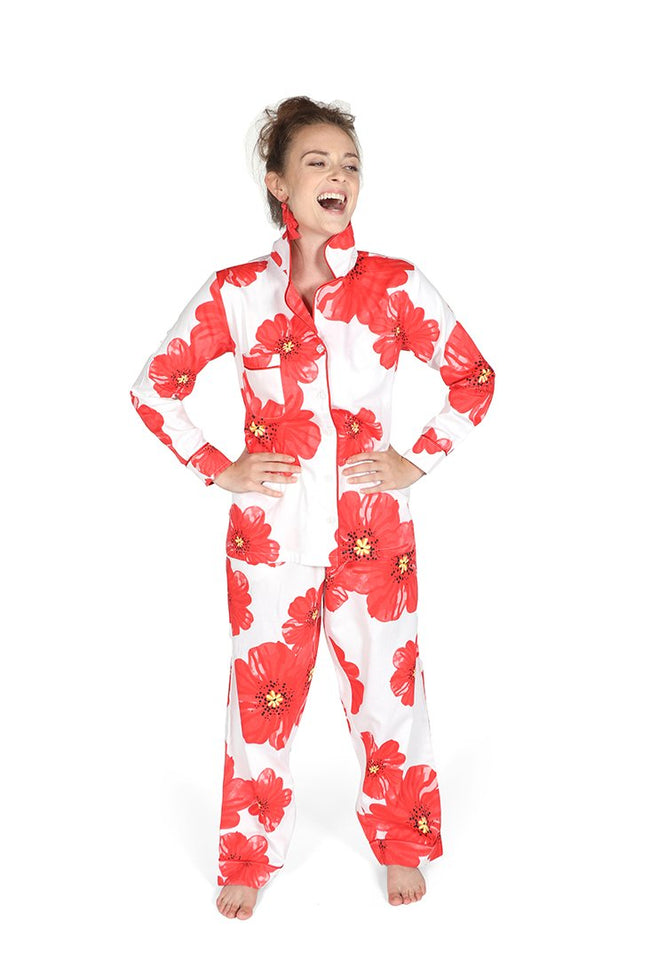 Poppies on Parade Sateen Full Pajama Set