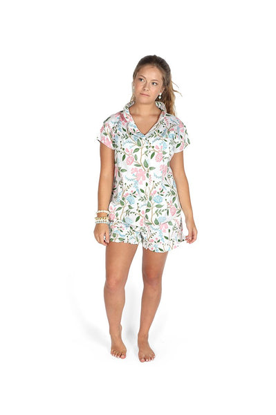Hydrangea Meadow Sateen Ruffled Summer PJ Set