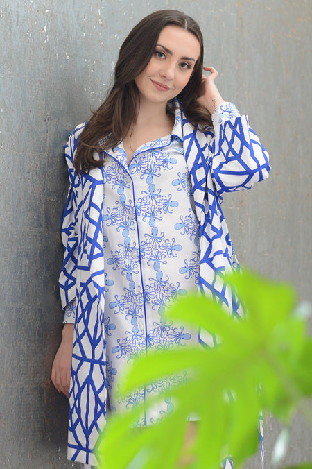 Pagoda Navy Full Pajama Set with Embroidery