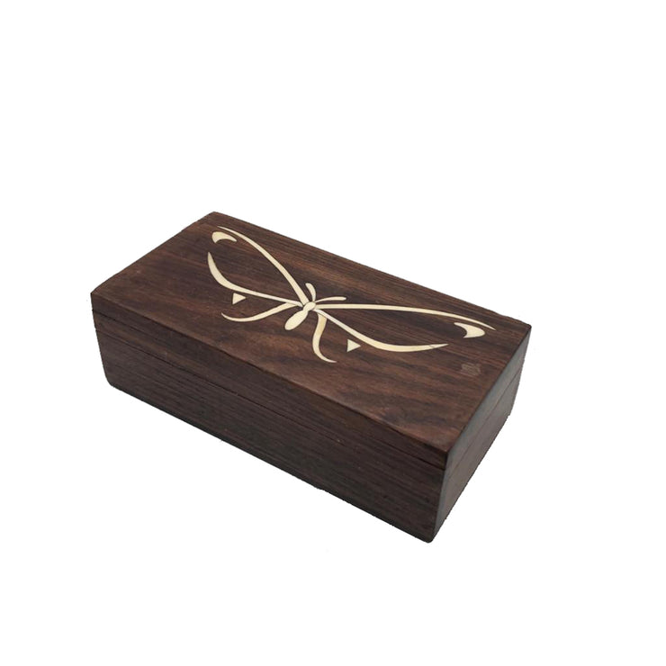 Antique Walnut Wood Butterfly Inlay Box