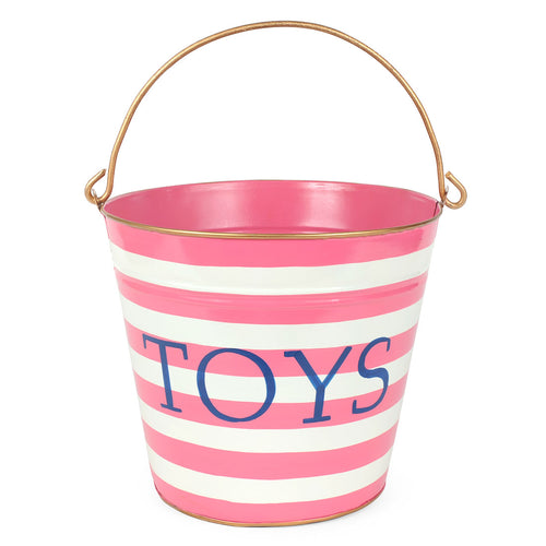 "Horizontal Stripes Pink ""TOYS"" Pail"