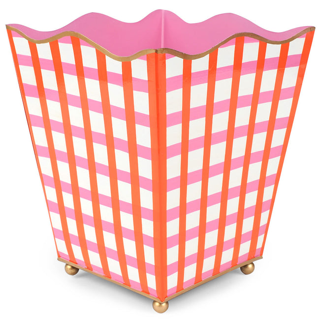 Gingham Pink Square Wastebasket