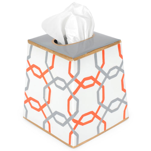 Squares Orange Tissue Box Cover