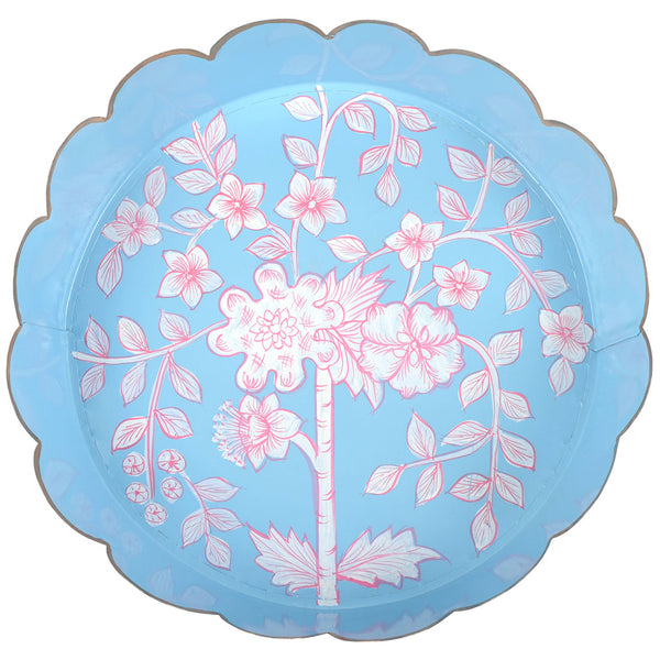 Floral Toile Scalloped Round Tray