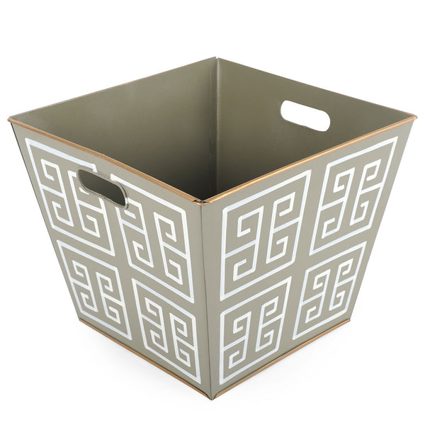 Greek Key Grey Storage Bin