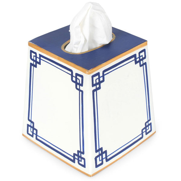 Interlocking Key Blue Tissue Box Cover
