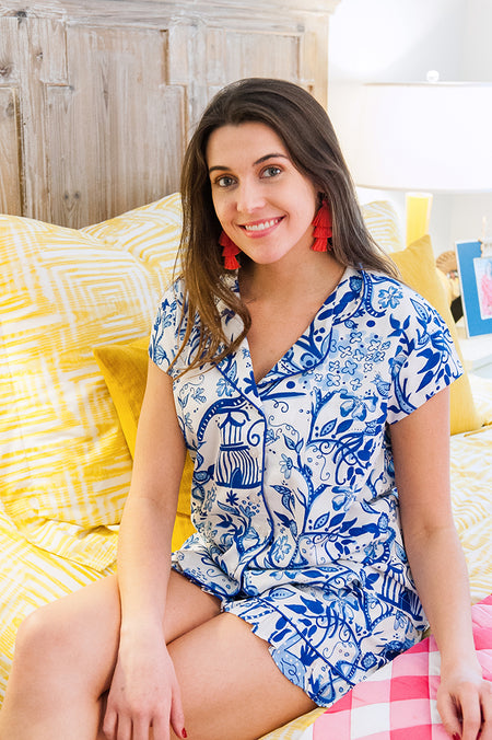 Banana Leaf Sateen Ruffled Summer PJ Set